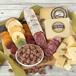 Cheese, Salame, Nuts and Dried Fruit with Bamboo Cutting Board
